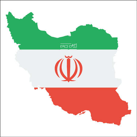 Iran, Islamic Republic Of high resolution map with national flag. Flag of the country overlaid on detailed outline map isolated on white background. Vettoriali