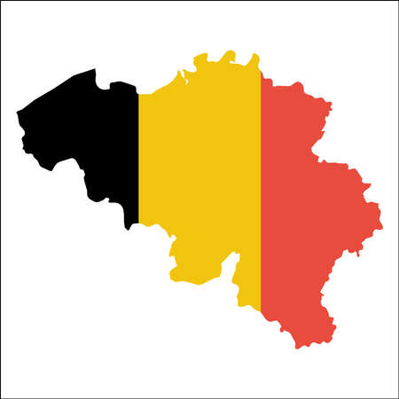 Belgium high resolution map with national flag. Flag of the country overlaid on detailed outline map isolated on white background. Illustration