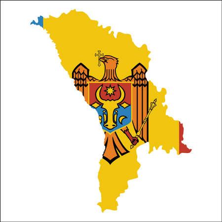 Moldavia, República de mapa de alta resolución con bandera nacional. Bandera del país sobrepuesta en el mapa de contorno detallado aislado sobre fondo blanco.