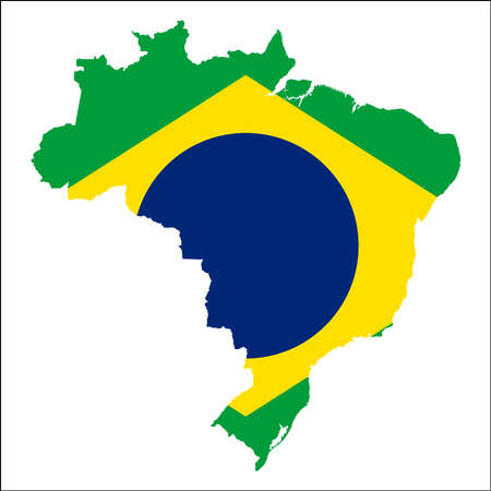 Brazil high resolution map with national flag. Flag of the country overlaid on detailed outline map isolated on white background.