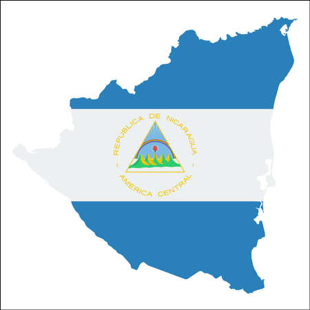 nicaragua: Nicaragua high resolution map with national flag. Flag of the country overlaid on detailed outline map isolated on white background.