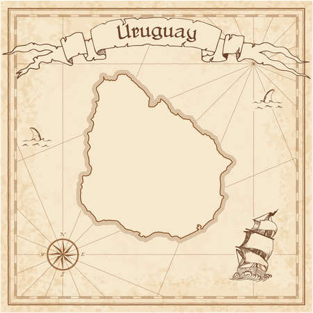 Uruguay old treasure map. Sepia engraved template of pirate map. Stylized pirate map on vintage paper.