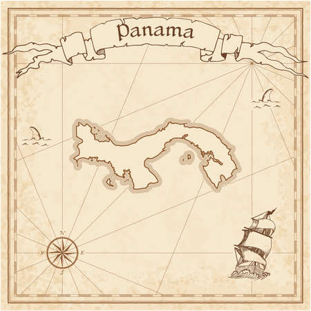 Panama old treasure map. Sepia engraved template of pirate map. Stylized pirate map on vintage paper.  イラスト・ベクター素材