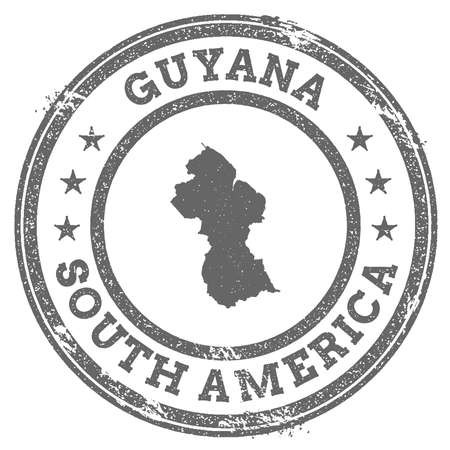 Guyana grunge rubber stamp map and text. Round textured country stamp with map outline. Vector illustration.