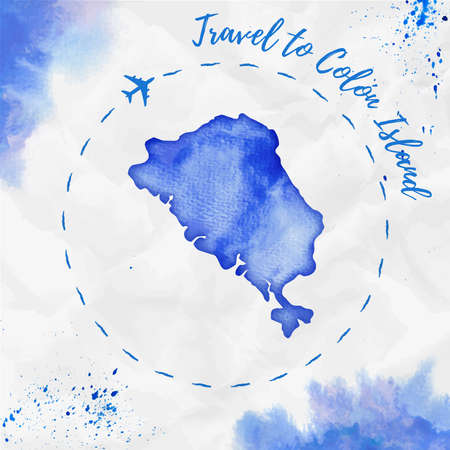 Colon Island watercolor island map in blue colors. Travel to Colon Island poster with airplane trace and handpainted watercolor Colon Island map on crumpled paper. Vector illustration.