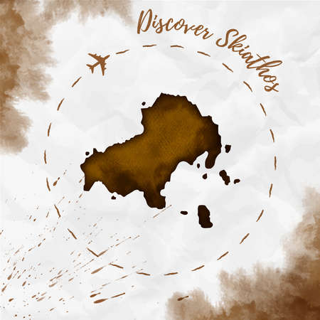 Skiathos watercolor island map in sepia colors. Discover Skiathos poster with airplane trace and handpainted watercolor Skiathos map on crumpled paper. Vector illustration.