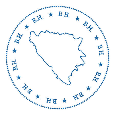 herz: Bosnia and Herzegovina vector map sticker. Hipster and retro style badge with Bosnia and Herzegovina map. Minimalistic insignia with round dots border. Country map vector illustration. Illustration