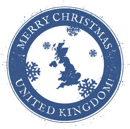 United Kingdom map. Vintage Merry Christmas United Kingdom Stamp. Stylised rubber stamp with county map and Merry Christmas text, vector illustration. Illustration
