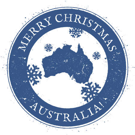Australia map. Vintage Merry Christmas Australia Stamp. Stylised rubber stamp with county map and Merry Christmas text, vector illustration.