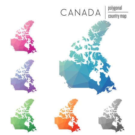 Set of vector polygonal Canada maps. Bright gradient map of country in low poly style. Multicolored Canada map in geometric style for your infographics.