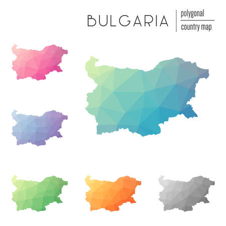 Set of vector polygonal Bulgaria maps. Bright gradient map of country in low poly style. Multicolored Bulgaria map in geometric style for your infographics.