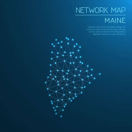 Maine network map. Stock Vector - 88058957