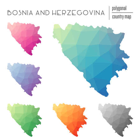 Set of vector polygonal Bosnia and Herzegovina maps. Bright gradient map of country in low poly style. Multicolored Bosnia and Herzegovina map in geometric style for your infographics. Illustration