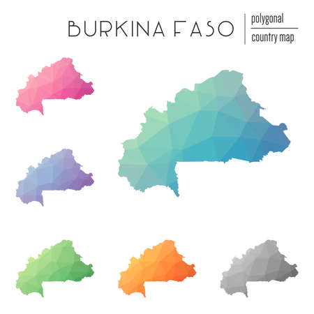 Set of polygonal Burkina Faso maps.