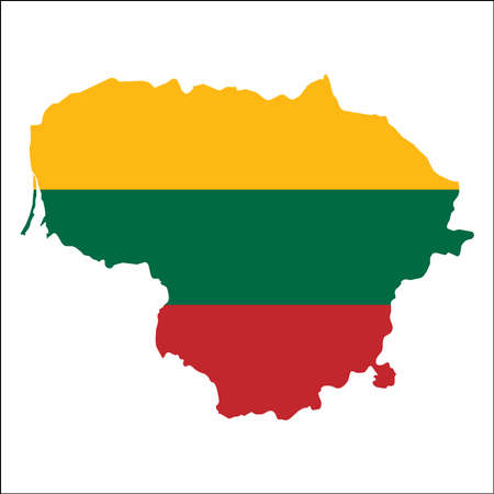 Lithuania high resolution map with national flag. Illustration