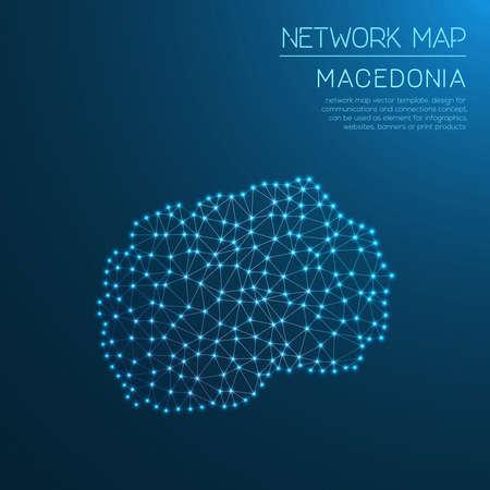 Macedonia, the Former Yugoslav Republic Of network map. Stock Vector - 88059053