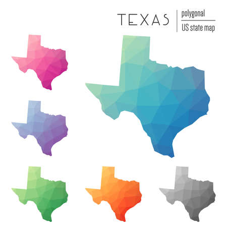 Set of polygonal Texas maps.