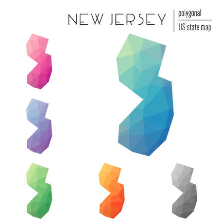 Set of polygonal New Jersey maps.