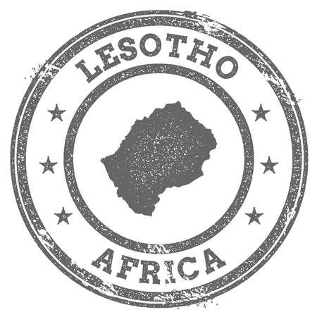 Lesotho grunge rubber stamp map and text Vektoros illusztráció