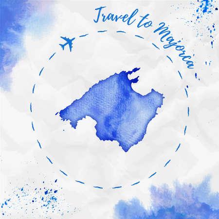Majorca watercolor island map in blue colors.