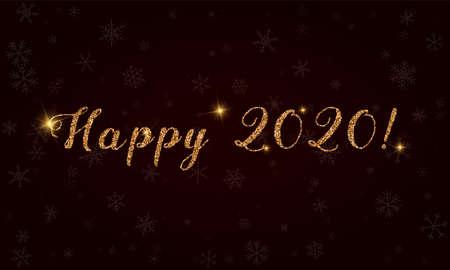 Happy 2020 Golden glitter hand lettering