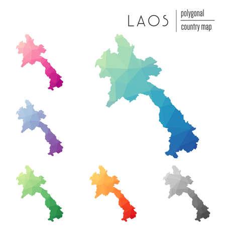 Set of  polygonal Lao Peoples Democratic Republic maps. Illustration
