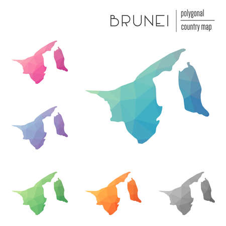 Set of polygonal Brunei Darussalam maps. Иллюстрация
