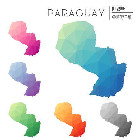 Set of  polygonal Paraguay maps.