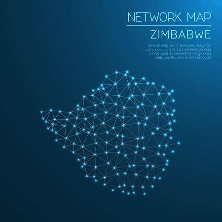Zimbabwe network map. Stock Vector - 88098686