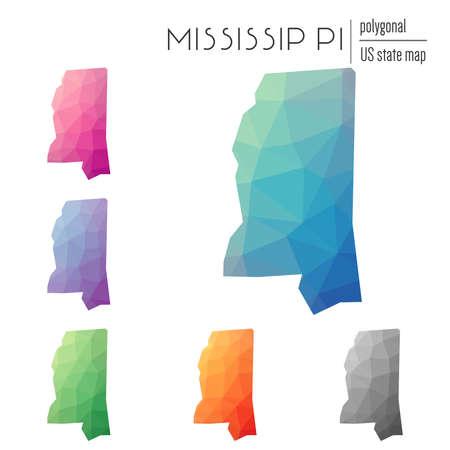 Set of polygonal Mississippi maps.