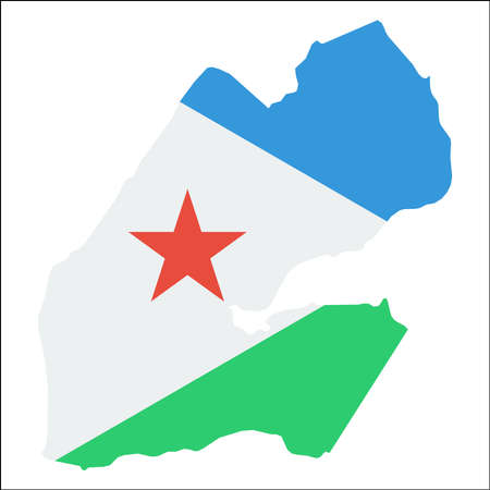 Djibouti high resolution map with national flag.