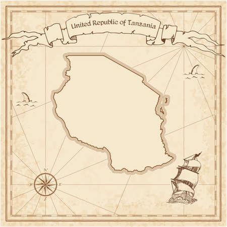 Tanzania, United Republic of old treasure map.