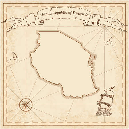 Tanzania, United Republic of old treasure map.