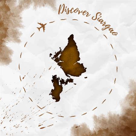 Siargao watercolor island map in sepia colors. Illustration