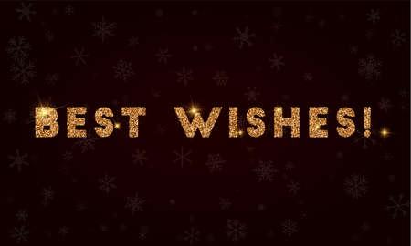 Best wishes!. Golden glitter greeting card. Ilustração