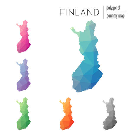 Set of vector polygonal Finland maps. Bright gradient map of country in low poly style. Multicolored Finland map in geometric style for your infographics.