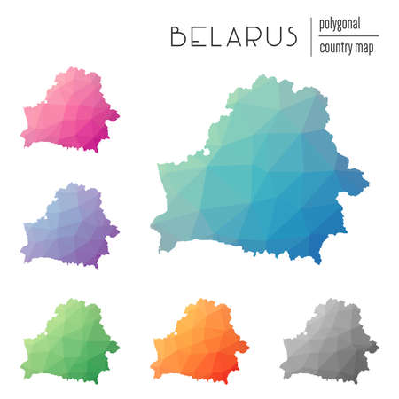 Set of vector polygonal Belarus maps. Bright gradient map of country in low poly style.