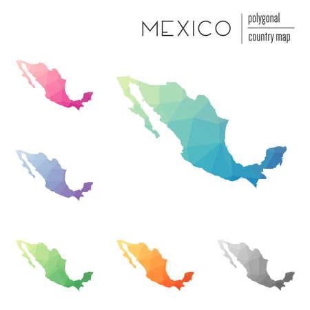 Conjunto de vectores de mapas poligonales de México. Mapa degradado brillante del país en estilo low poly. Mapa de México multicolor en estilo geométrico para su infografía.