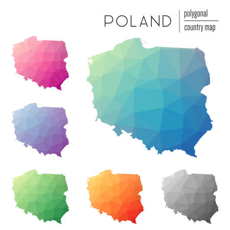 Set of vector polygonal Poland maps. Bright gradient map of country in low poly style. Multicolored Poland map in geometric style for your infographics.
