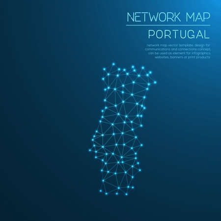 Portugal network map. Abstract polygonal map design. Internet connections vector illustration.
