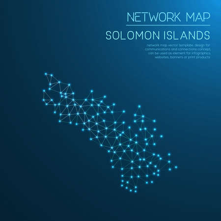 Solomon Islands network map. Abstract polygonal map design. Internet connections vector illustration. Stock Vector - 88134758