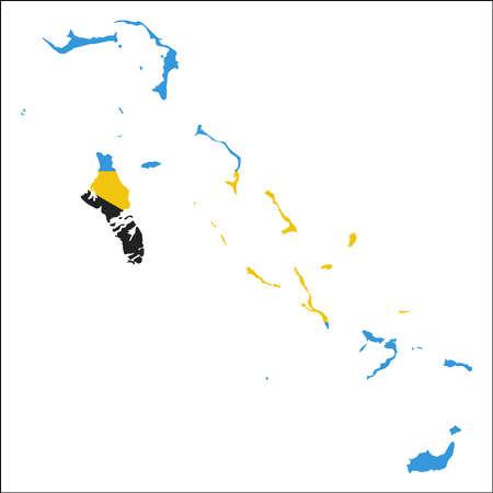 바하마 국기와 함께 고해상도지도입니다. 흰색 배경에 고립 된 자세한 개요지도에 겹쳐 나라의 국기. 일러스트