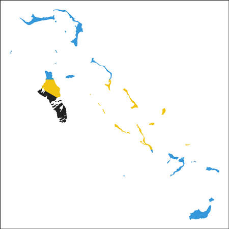 Bahamas high resolution map with national flag. Flag of the country overlaid on detailed outline map isolated on white background.