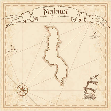 Malawi old treasure map. Sepia engraved template of pirate map. Stylized pirate map on vintage paper.