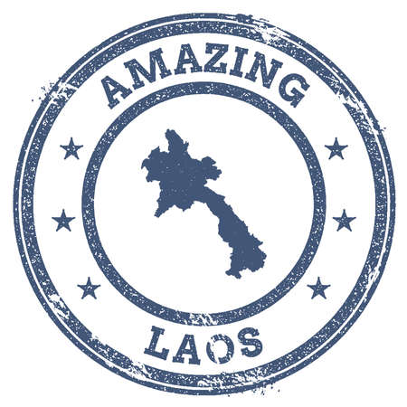 Vintage amazing lao peoples democratic republic travel stamp with map outline vector