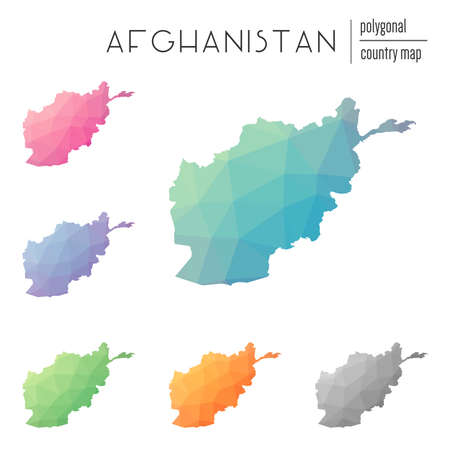Set of vector polygonal Afghanistan maps. Illustration