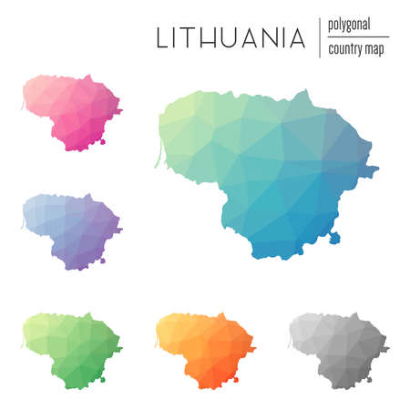 Set of vector polygonal Lithuania maps.