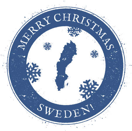 Sweden map. Vintage Merry Christmas Sweden Stamp. 向量圖像