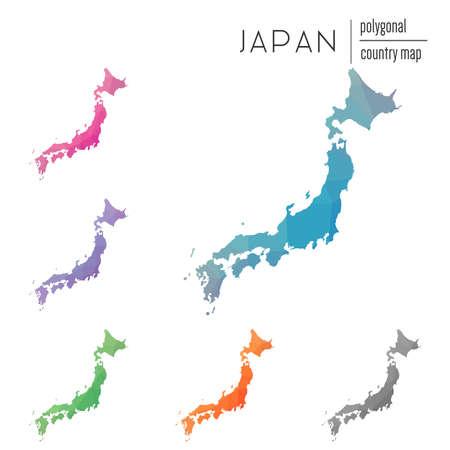 Set of vector polygonal Japan maps.