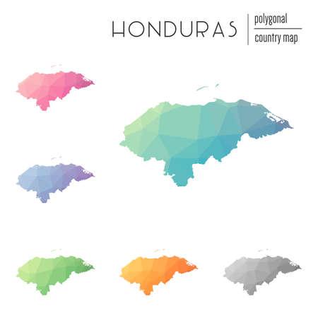 Set of vector polygonal Honduras maps.